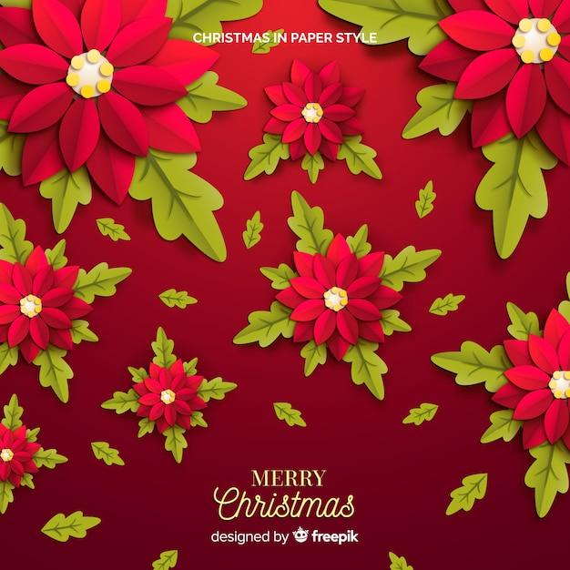 Priorità bassa rossa dei fiori di natale festivo Vettore gratuito