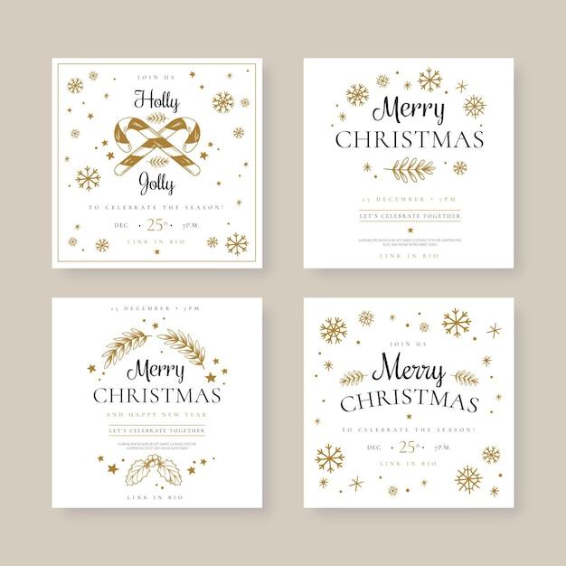Набор праздничных рождественских постов в социальных сетях Бесплатные векторы