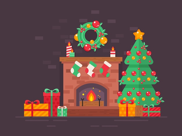 Festive christmas tree and decorated fireplace flat card Premium Vector