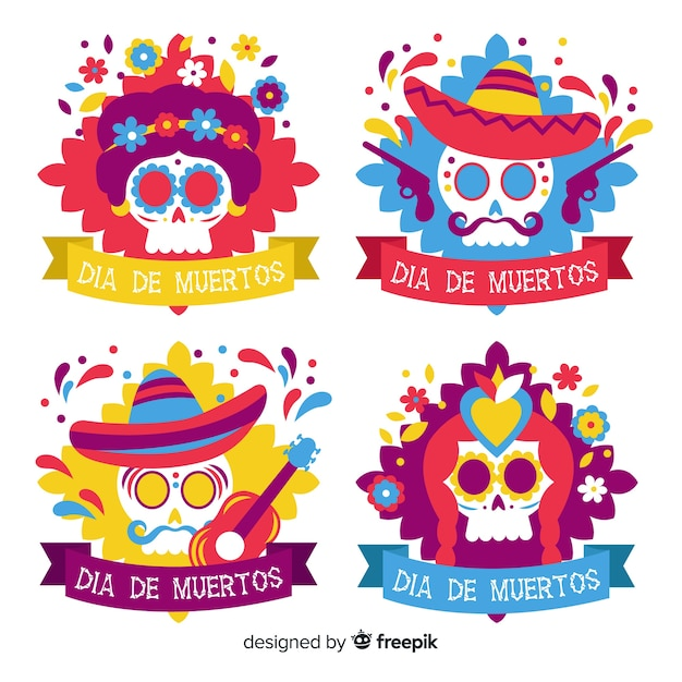 Festive colorful skulls label collection Free Vector
