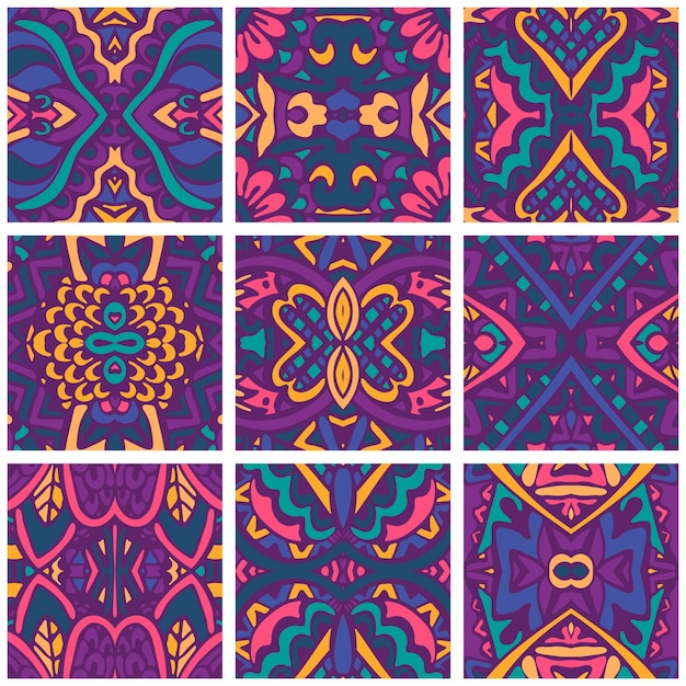 Festive colorful  wallpaper.  psychedelic seamless decoration. Premium Vector