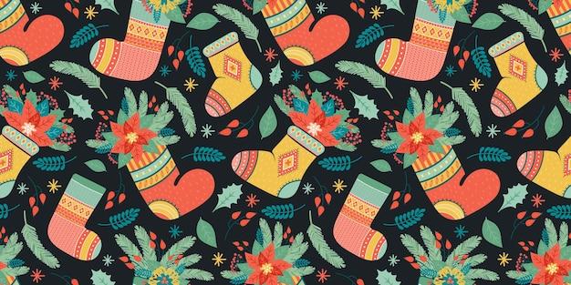 ギフトや植物のためのカラフルな靴下のお祝いの構成 Premiumベクター