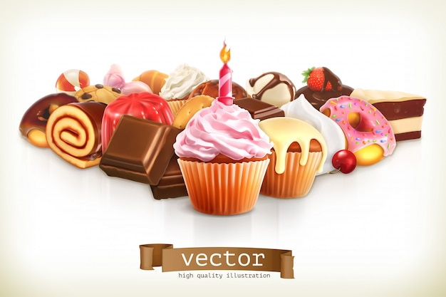 Festive cupcake with candle, confectionery illustration Premium Vector