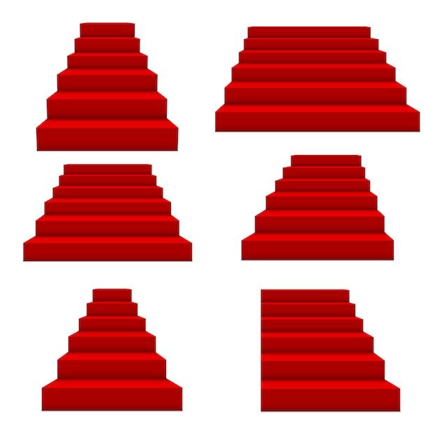 축제 이벤트 빨간 계단. 프리미엄 벡터
