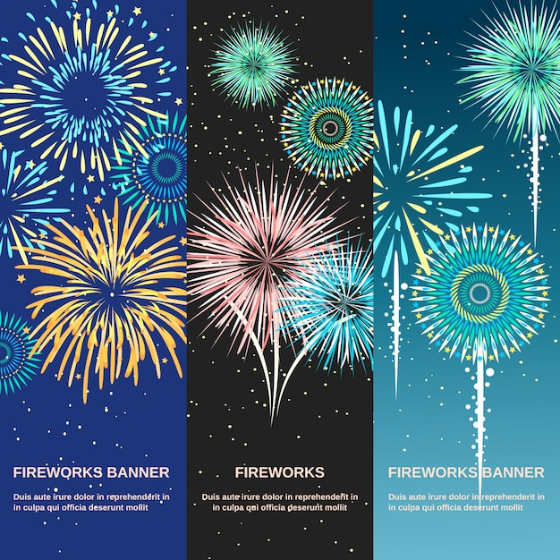 Festive firework abstract vertical banners Free Vector