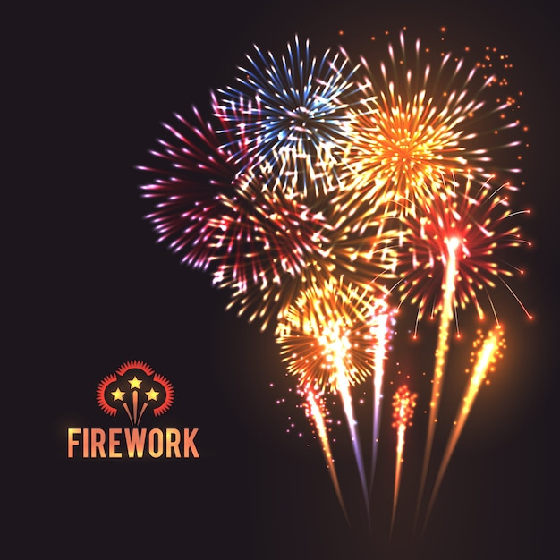 Festive firework black background poster Free Vector