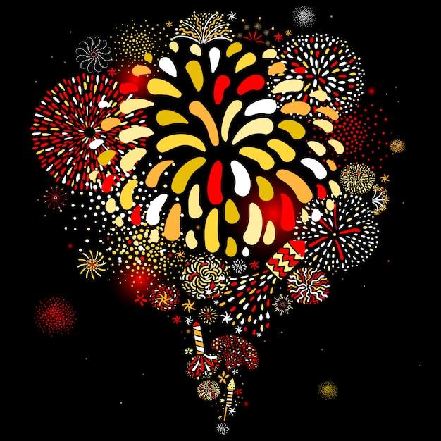 Festive firework black background poster Free Vector