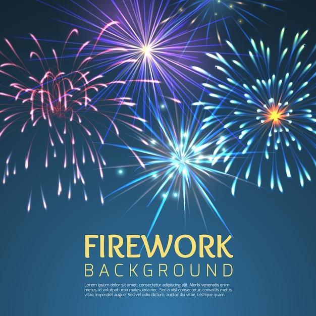 Fuochi d'artificio festivi. celebrazione delle vacanze, festosa ed esplodere, festival e carnevale, natale o capodanno, illustrazione dell'anno Vettore gratuito
