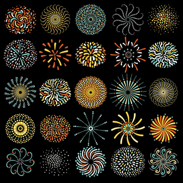 Festive firework round icons collection Free Vector