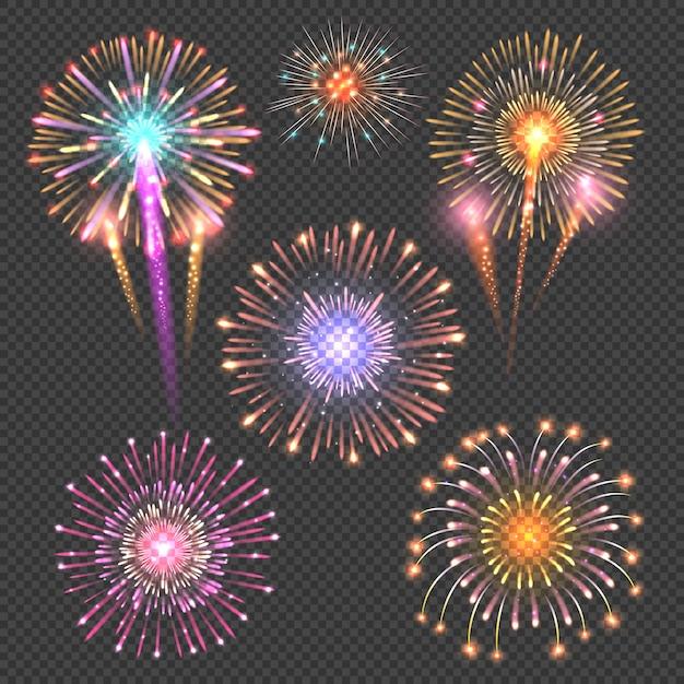 Festive firework vector on checkered dark background Premium Vector