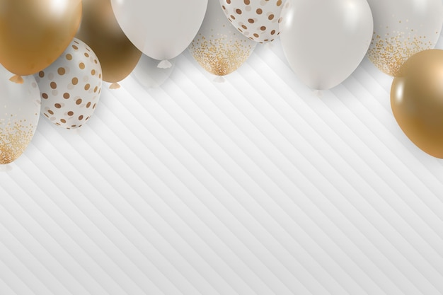 Festive gold balloons corduroy background Free Vector