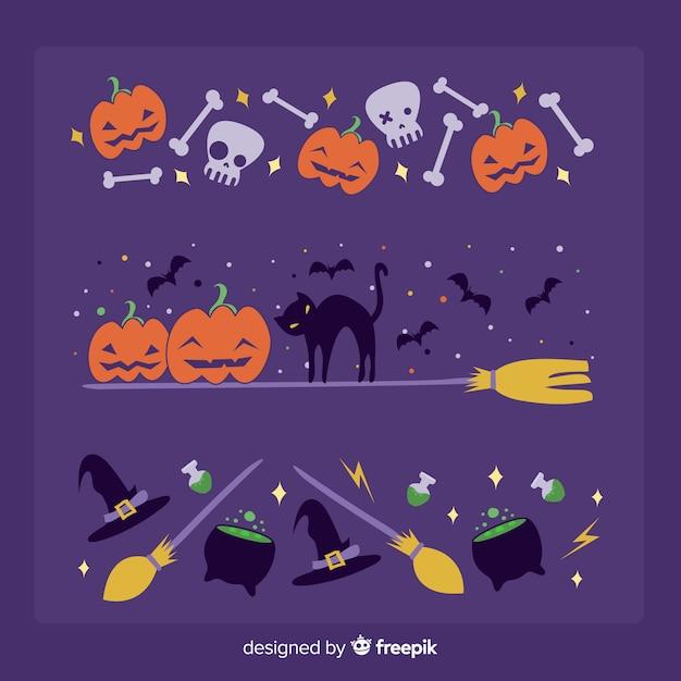 Festive halloween border on purple background Free Vector