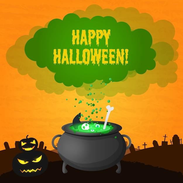Scheda festiva di halloween felice con zucche spaventose dell'iscrizione e pozione magica che bolle in pentola della strega Vettore gratuito