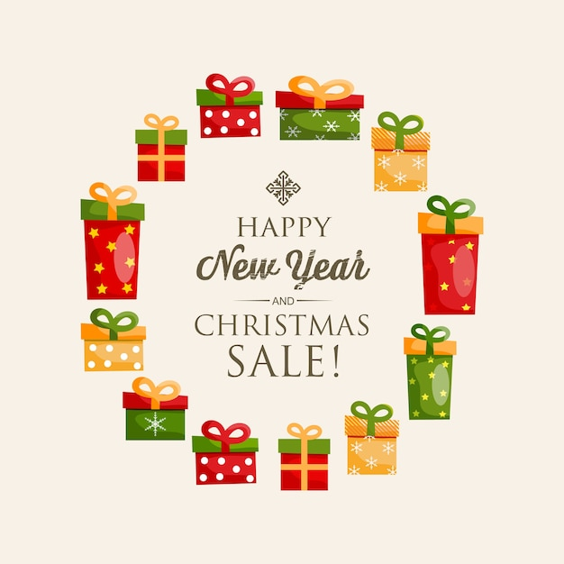 Festive happy new year poster with calligraphic inscription and colorful present boxes in round shape illustration Free Vector