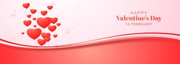 Festive heart valentines day banner design Free Vector