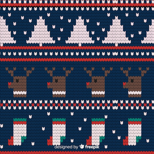 Festive knitted christmas pattern Free Vector