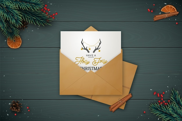 Festive  lay composition with craft envelope. Premium Vector