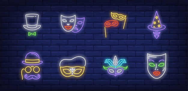 네온 스타일로 설정된 축제 마스크 기호 무료 벡터