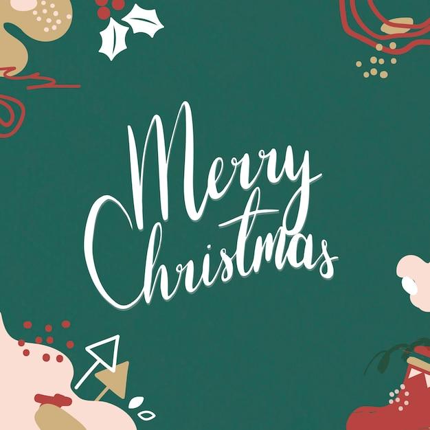 Cartolina d'auguri di buon natale festivo con scritte Vettore gratuito