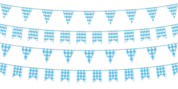 Festive paper garlands isolated on white background. Premium Vector