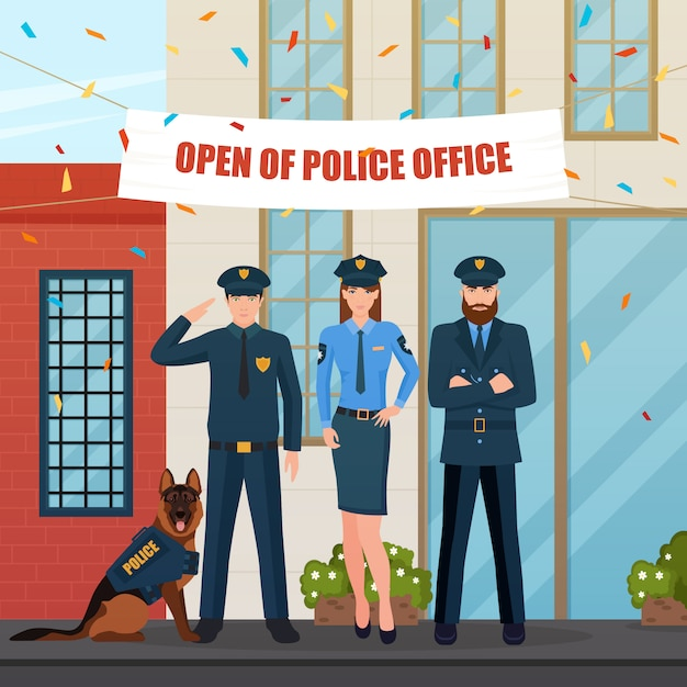 Festive police people composition Free Vector