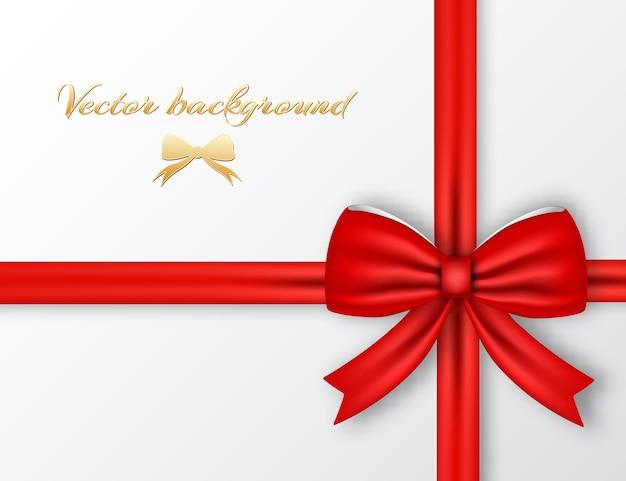 赤いリボンの背景とお祝いのプレゼント 無料ベクター