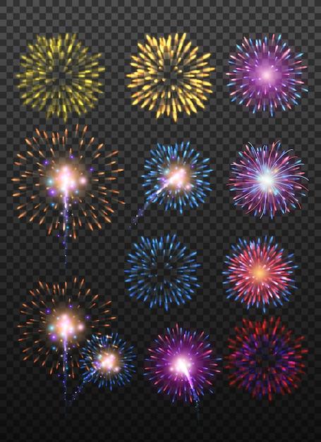 Набор праздничных реалистичных фейерверков, разрывающихся в разные формы, сверкающих пиктограмм Premium векторы