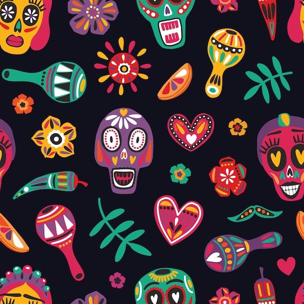 Festive seamless pattern with decorative skulls Premium Vector