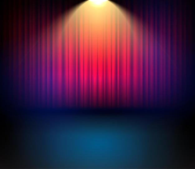 Праздничный театральный занавес для концерта. сценическое шоу захватывающий фон с занавесками. Premium векторы