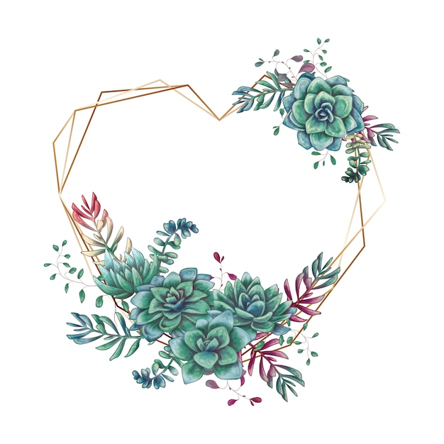 Festive wedding frames with colorful succulents. Premium Vector