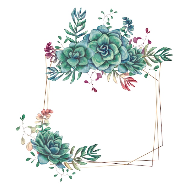 Premium Vector Festive Wedding Frames With Colorful Succulents