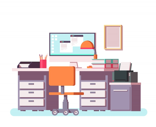 Оffice or freelance interior with table, pc, printer, chair n other office equipment. Premium Vector