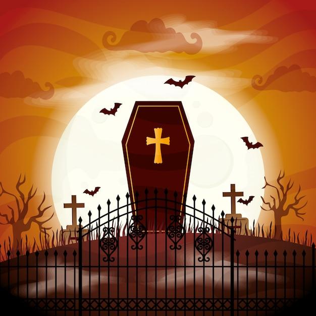 墓地の図で不気味なハロウィーンのffin Premiumベクター