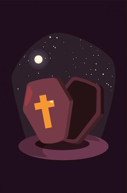 ハロウィーンのシーンでキリスト教の十字架と木製のffin Premiumベクター