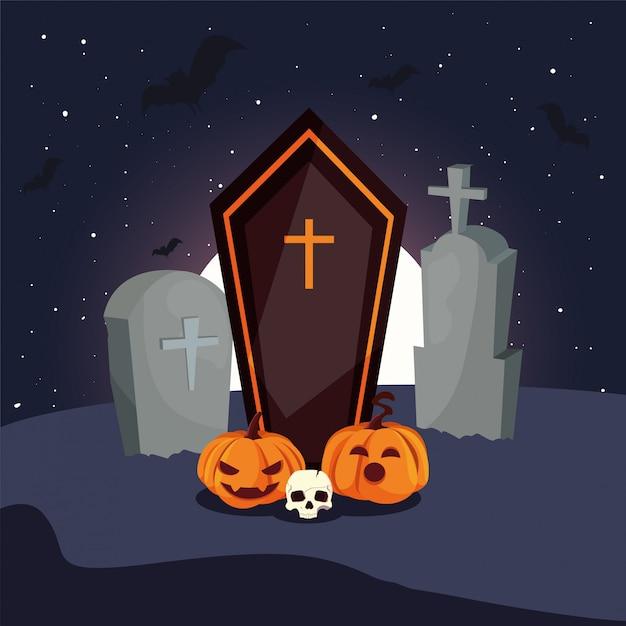 墓地のシーンでキリスト教の十字架と木製のffin Premiumベクター