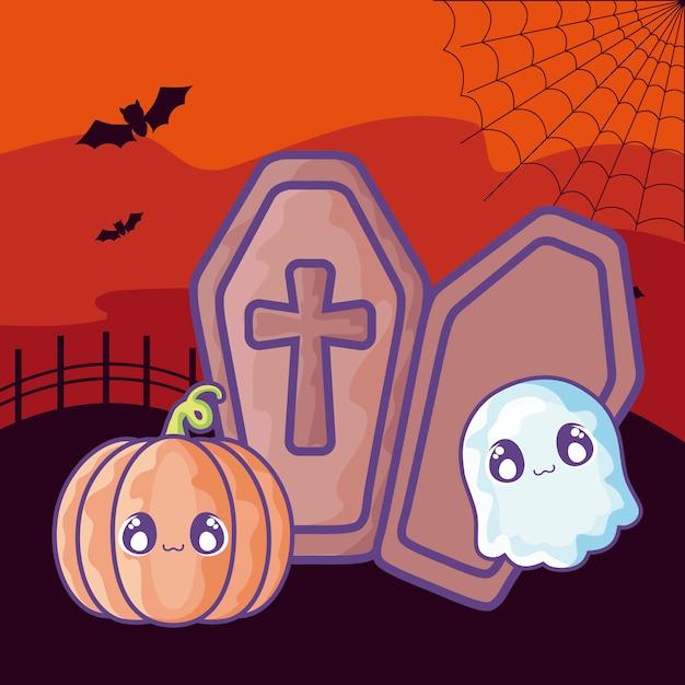 ハロウィーンのシーンにキリスト教の十字架と木製のffin Premiumベクター