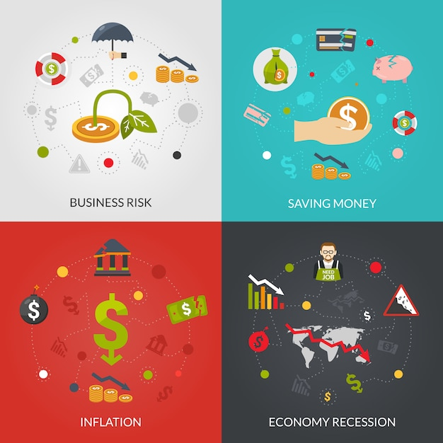 Ffinancial crisis 4 flat icons square Free Vector