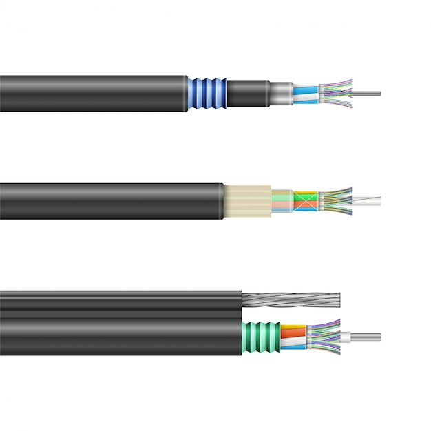 Fiber cable isolated realistic set icon. Premium Vector