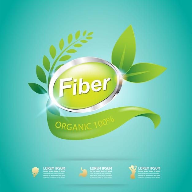 Fiber in green foods organic vector concept label Premium Vector