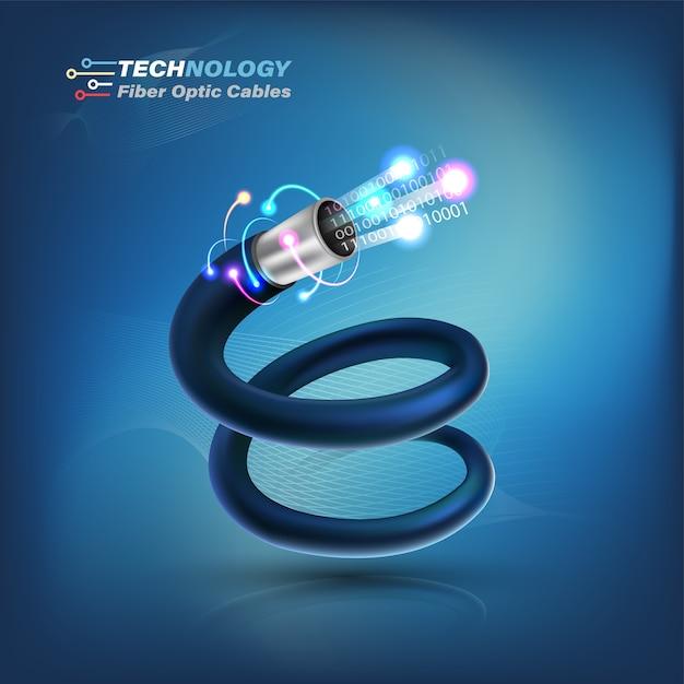 Fiber optic cable connecting concept Vector | Premium Download