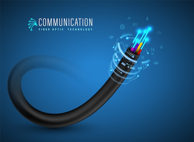 Fiber optic cable connecting concept. Premium Vector