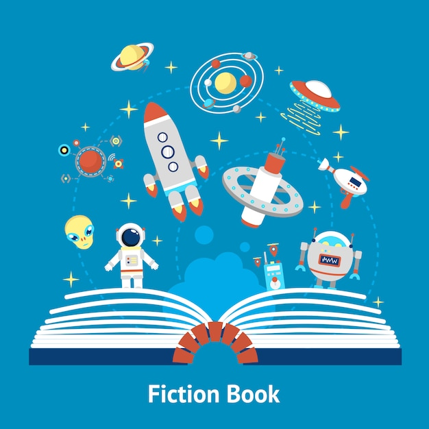 Fiction book illustration Free Vector