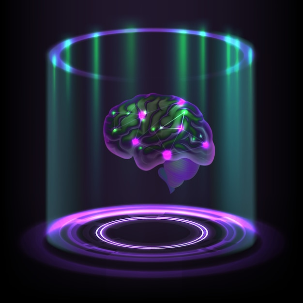 Fictional concept of luminous cybernetic human brain hologram on dark background Premium Vector