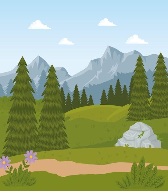 花と松の木のデザインとフィールドキャンプの風景シーン Premiumベクター