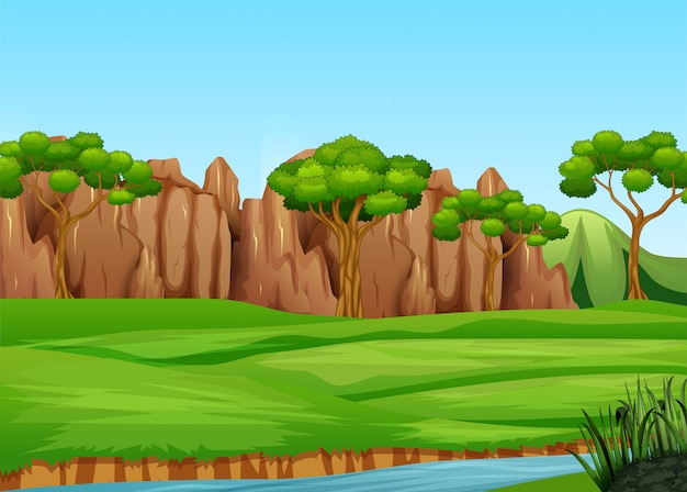 Field landscape with mani trees and river Premium Vector