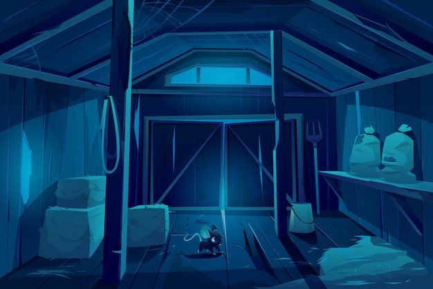 Fieldmouse in farm barn house at night. Free Vector