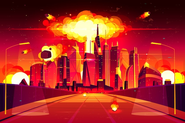 Fiery mushroom cloud of atomic bomb detonation raising under skyscrapers. Free Vector