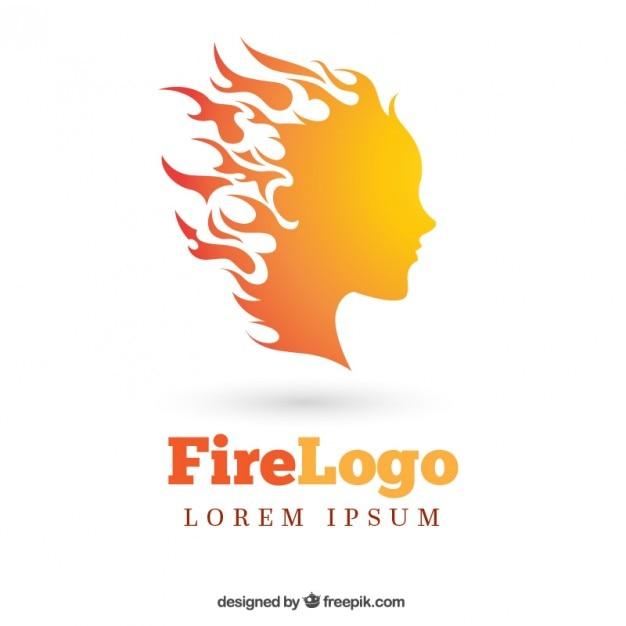 Fiery woman logo Free Vector