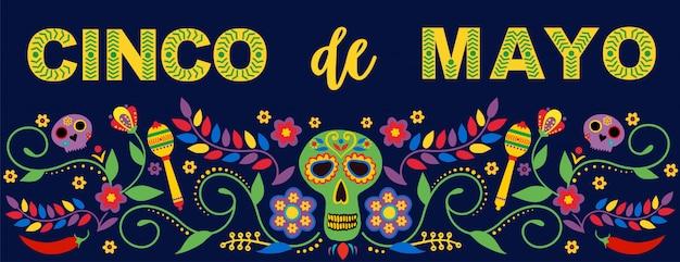 Fiesta баннер и плакат с флагами, цветами, украшениями и текст маракасы feliz cinco de mayo. Premium векторы