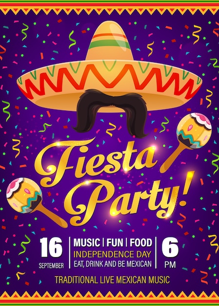 Fiesta party flyer, mexican symbols sombrero, mustaches with maracas and colorful confetti on purple background with traditional zigzag pattern. cinco de mayo holiday celebration cartoon poster Premium Vector